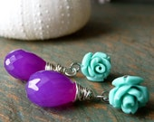 Grape Chalcedony with Turquoise Rose Earrings