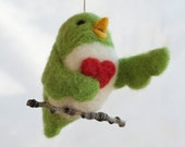 Needle Felted Love Bird Ornament - Singing with Heart