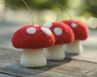 Needle Felted Ornament - Pack of Three Toadstools