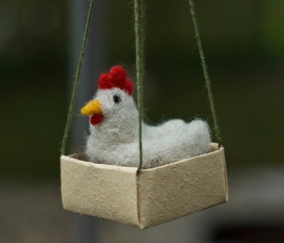 Needle Felted Chicken Ornament - Hen with Egg