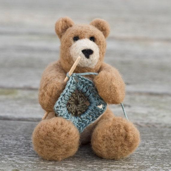 Needle Felted Bear - Crocheting