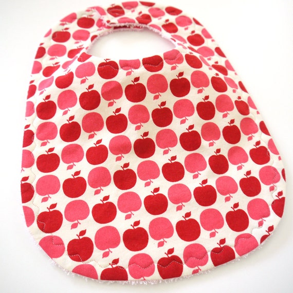Red Declicious Apples - Cotton Baby Bib with Terrycloth Backing