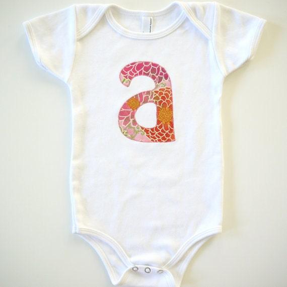 RESERVED - Zinnias - Monogrammed - Short Sleeve or Long Sleeve - Sizes 3 months, 6 months, 12 months, 18 months, 24 months
