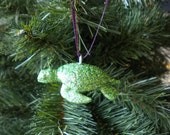 Sparkling Sea Turtle Ornament - Green