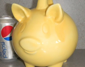 Pig bank Yellow Ceramic Piggy Bank with stopper ready to ship #YP0708