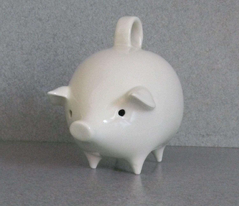 Vintage White Ceramic Piggy Bank No Stopper By Suesuesuecrafts