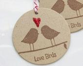 Love Bird Tags Glitter Heart - Set of 6 - Custom Colors Available - Bridal Shower Wedding Favor Tags