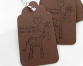 Giraffe Favor Tags Thanks So Much - Set of 8 - Custom Colors Available - Baby Shower Thank You Tags
