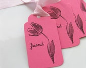 Friend Gift Tags - Set of 6 - Custom Colors Available - Flower Tags Bridal Shower Favor Tags