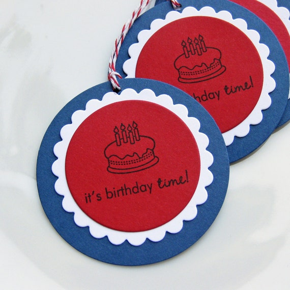 Birthday Cake Tags Party Favor Gift - Set of 6 -  Custom Colors Available