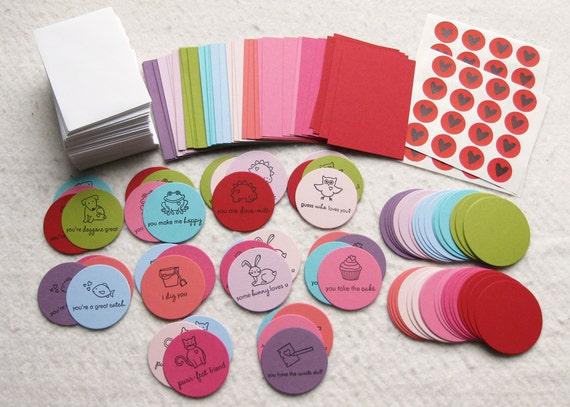 Valentine Card DIY Kit - Makes 40 Mini Cards with Envelopes - Last One Available