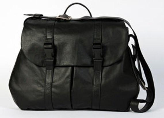 Lightweight Black Leather Messenger Bag Overnight Soft Satchel Travel Bag