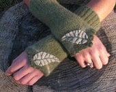 Felted Wool Gauntlet Wrist Warmers in Forest with Leaf Applique