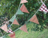 Flag Bunting Banner, 11 Small Flag Strand, Picnic Plaids and Ginghams in Earthy Fall Colors