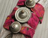 Bracelet  Fuchsia Sari Silk Wrap Bracelet with Turkoman Gypsy Metalwork