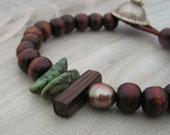 Gypsy Mala Bracelet in Dark Wood with Freshwater Pearl and Green Betel Nuts