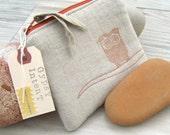 Owl Stash Bag, Zipper Pouch, Linen Bag, Hand Printed, Orange Owl
