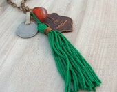 Nomadic Talisman Necklace with Buddhist Amulet, Tassel and Gypsy Coin