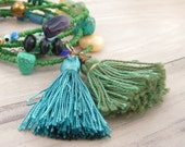 Gypsy Summer in Green- Long Beaded Necklace with Tassel and Various Gemstones
