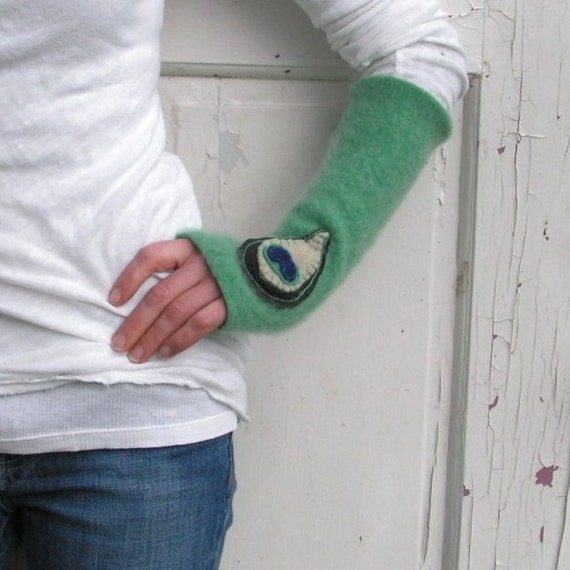 Fingerless Cashmere Gloves- Aqua with Peacock Feathers - Handmade Arm Warmers