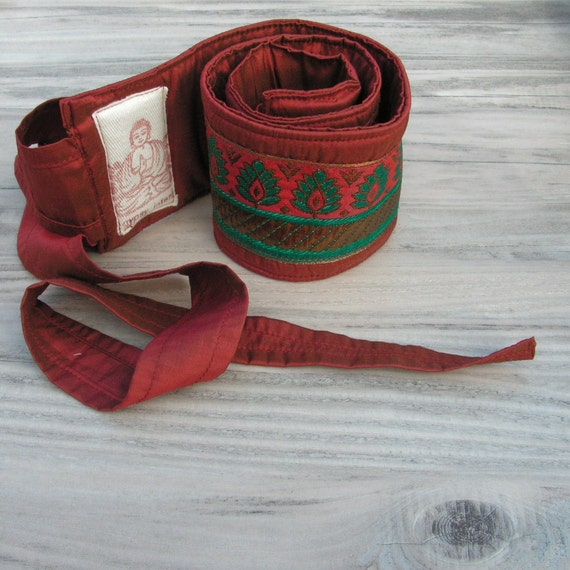 Silk Road Belt - Rusty Red Silk with Teal and Gold Jacquard Ribbon - Sash Style