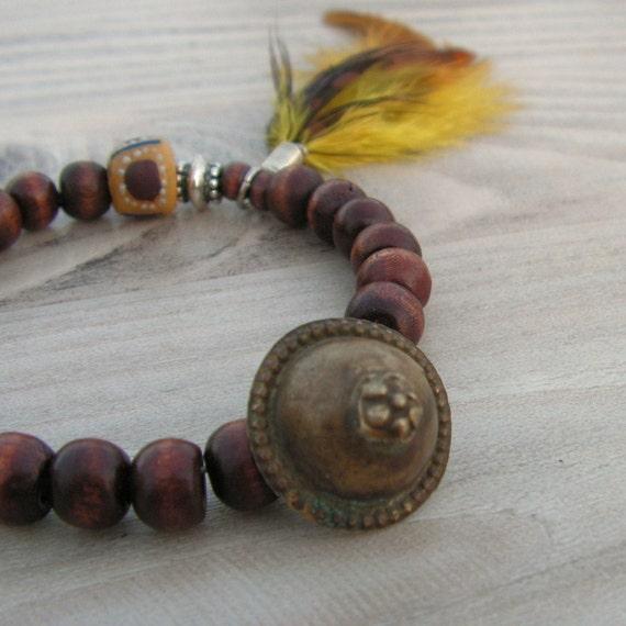 Gypsy Mala Bracelet in Dark Wood with Feather Charm