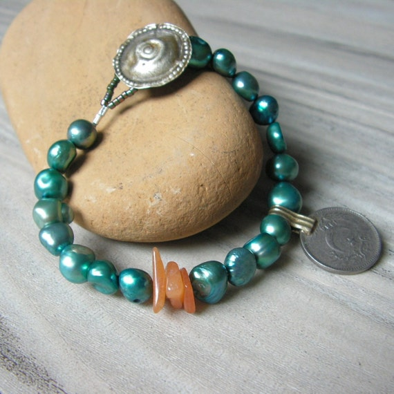 RESERVED FOR  Haley - Luxe Gypsy Mala - Turquoise Pearls with Gypsy Metalwork and Orange Aventurine Beads