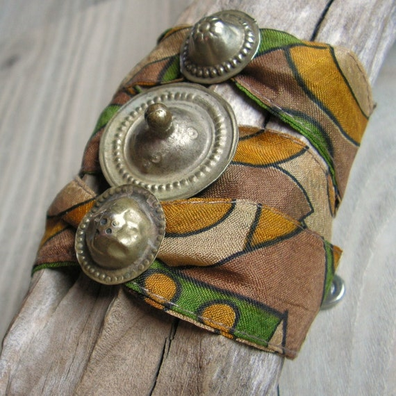 Sari Silk Wrap Bracelet, Wide Bohemian Bracelet, Tribal Gypsy, Earthy Colors, Olive, Mustard and Browns