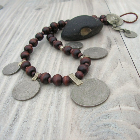 Dancing Gypsy - Vintage Coin Charm Necklace - Dark Brown Wood with Tribal Metalwork