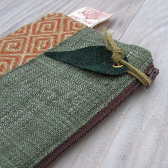 Linen Zipper Pouch in Burnt Orange and Green with Paisley Zipper Pull