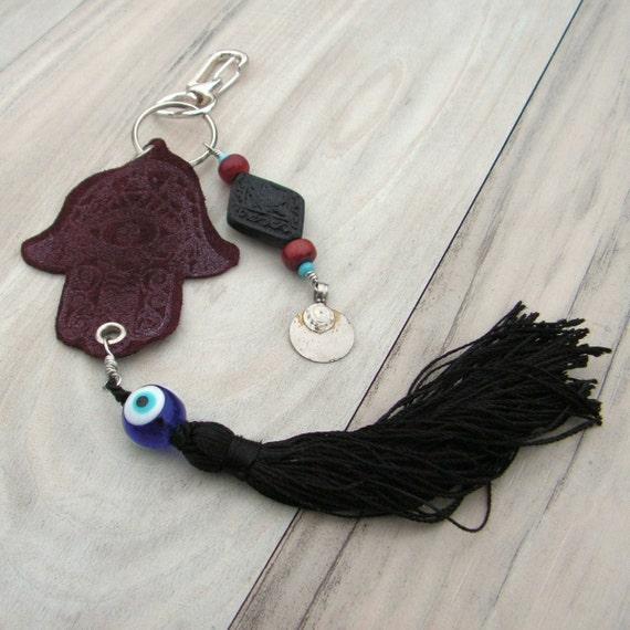 Hamsa Purse Charm or Key Chain with Tassel and Evil Eye