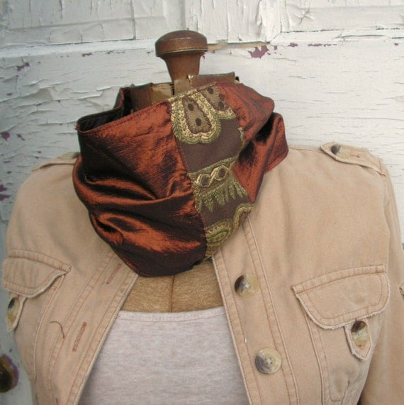 Reversible - Tube Scarf - Copper to Red and Tan  - Cowl Neckwarmer