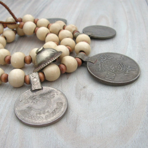 The Dancing Gypsy Coin  Necklace - Pale Wood with Vintage Banjara Tribal Metalwork