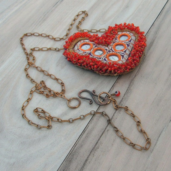 Shisha Heart Necklace, Valentine's Gift, Long Chain with Vintage Beaded Charm