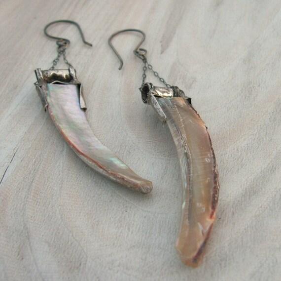 Long Abalone Tusk Earrings - Sterling Silver Earwires
