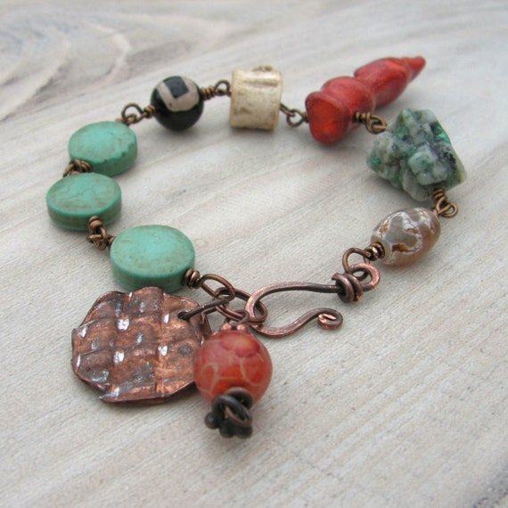Ethnic Beaded Bracelet - Antiqued Brass and Gemstones with Copper Charm