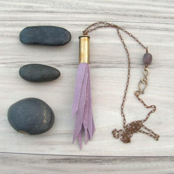 Leather Tassel Necklace in a Brass Bullet - Lavender
