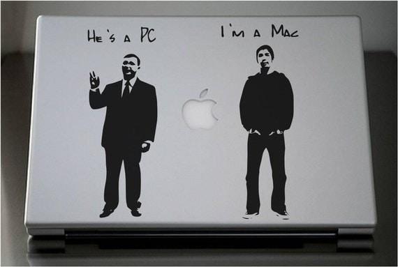 PC vs Mac MacBook Pro Laptop MacJac, vinyl sticker decal by Lana Kole