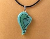 Green Faux Cloisonne Heart Pendant, 2