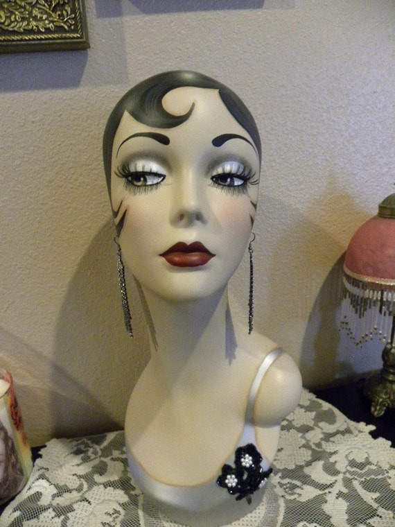 Vintage Style Art Deco Flapper Mannequin Head By