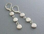 Sterling Silver Earrings, Brush Coin Earrings, Silver Earrings, Dangling Earrings