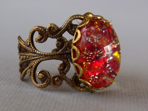 Red Rose, Red Stone Ring, Opal Ring, Red Opal Ring