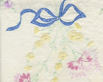 vintage dresser scarf bouquet of flowers