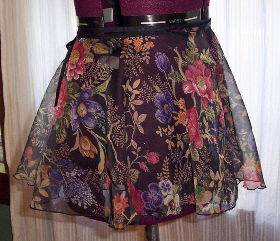Floral Print Ballet Wrap Skirt Adult Medium By Thevioletpansy