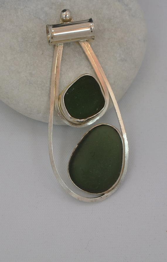 Sea Glass Jewelry  --Sterling-Olive Green Sea Glass Pendant