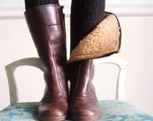 Mulberry Close Vintage 70s Dark Brown Faux Fur Lined Waterproof Rain Boots 7