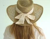 Sally Gardener Vintage Woven Wide Brimmed Ribbon Trimmed Summer Sun Hat S/M