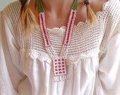 Native American Vintage Red Green and White Beaded Fringed Boho Necklace