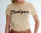 Little Leaguer Vintage 70s SS Beige Dodgers Baseball Tee Shirt XS/S