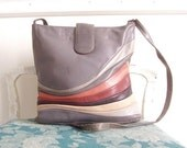 Strata Layer Vintage 80s Pieced Multi Color Genuine Leather Shoulder Bag